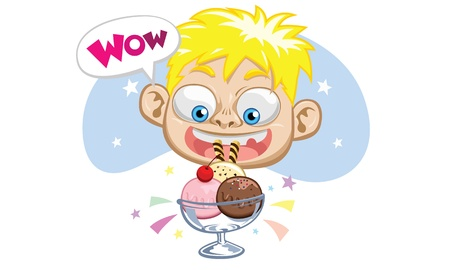 happy boy eat ice cream strawberry vanilla chocolate Vector