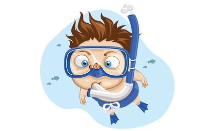 Closeup little boy wearing blue mask and snorkel   Vector