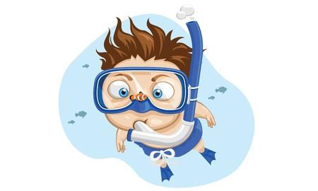 snorkel:  Closeup little boy wearing blue mask and snorkel