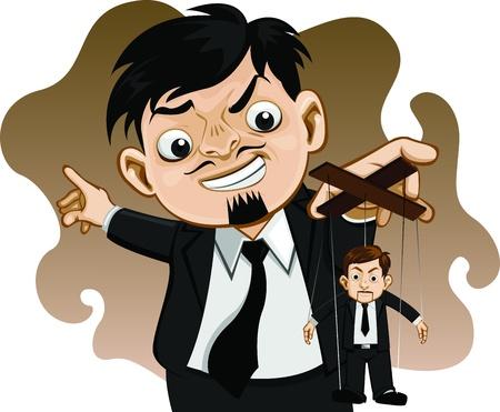 manipulated: Business man marionette Vector illustrator