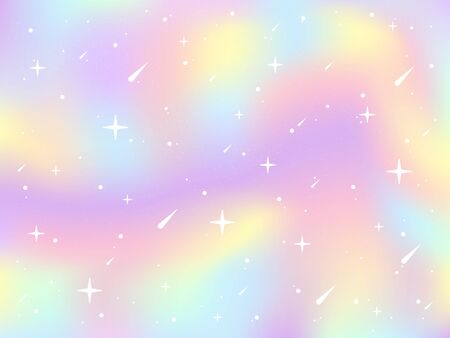 Vector illustration of unicorn gradient background with rainbow pastel colors. Holographic fairy background with fallen stars and stardust. Universe backdrop for banner, wraping paper, print