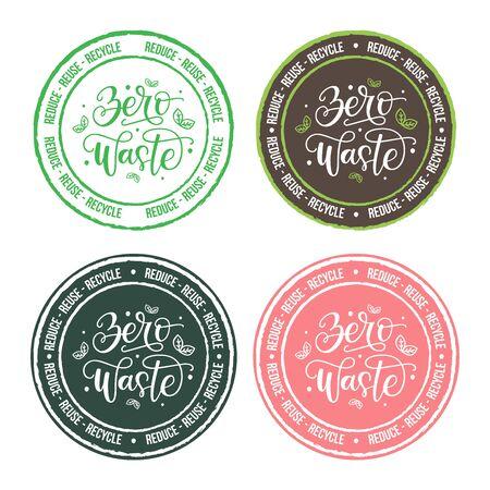 Satz von Vektor-Etiketten mit Zero Waste handgezeichnete Schriftzug Typografie. Zero-Waste-Emblem auf Hintergrund isoliert. Umweltfreundlicher Lebensstil und Stempel für nachhaltige Entwicklung, Abzeichen. Reduzieren, wiederverwenden, recyceln