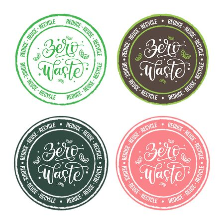 Set of vector labels with Zero waste hand drawn lettering typography. Zero waste emblem isolated on background. Eco friendly lifestyle and sustainable development stamp, badge. Reduce, reuse, recycle