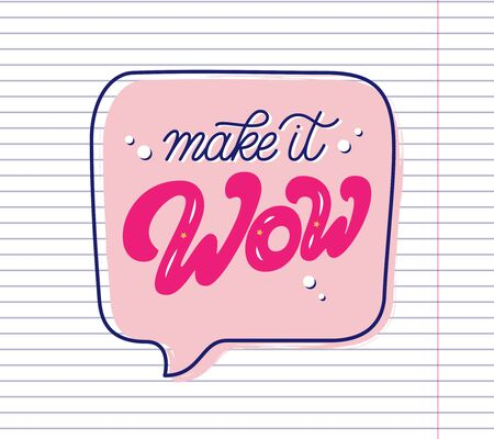 Make it Wow hand drawn slogan inside speech bubble. Vector illustration with lettering typography on school paper sheet. Motivational quote for poster, t shirt, banner, card, sticker, badge 矢量图像