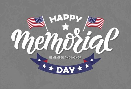 Vector illustration of Memorial Day logotype. Hand drawn lettering, ribbon with stars, USA flags on blue background. Typography poster for American national holiday. Icon, postcard, badge design Logo