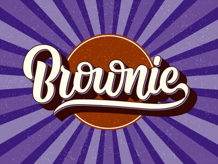 Chocolate fudge brownie vector poster. Hand drawn lettering typography and label isolated on textured purple background with sunburst. Food packaging, print, logo, banner, sticker, badge