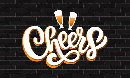 Cheers hand drawn brush pen lettering and beer on dark background. Vector illustration isolated on loft brick wall. Design template for banner, card, poster, print, badge