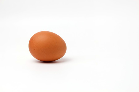 brown one egg not painted on a white background isolated