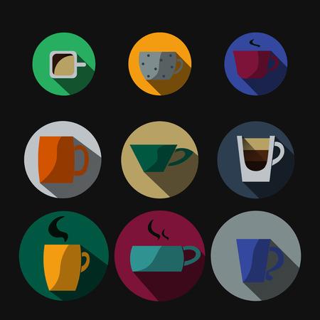variegated: Nine variegated cups on black background Illustration