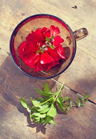 the bowl with rose petals and mint rose and mint on old wooden background Stock Photo