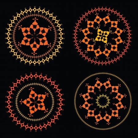 Colour Mandala on a black background  Illustration
