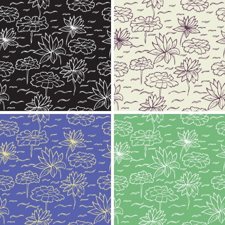 Set of lotus seamless texture,  style sketch Illustration
