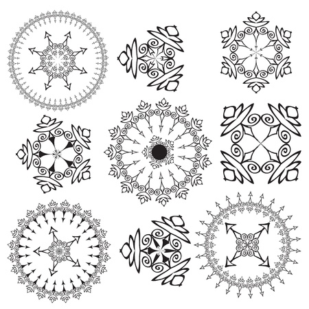 Set of mandalas on a white background  Vector  Illustration