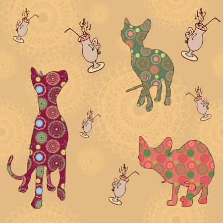 Abstract seamless texture with cats Sphynx Vector