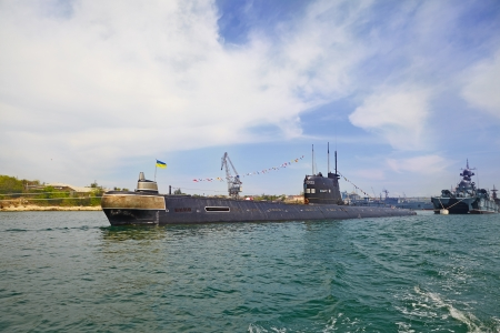 SEVASTOPOL, UKRAINE -- MAY 12, 2013  A modern submarine in the parade of ships  Celebrating 230 years of the Black Sea Fleet  Editorial