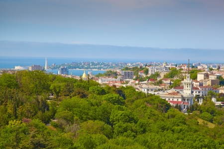 Panorama of Sevastopol, the view from the top. Ukraine, Crimea.