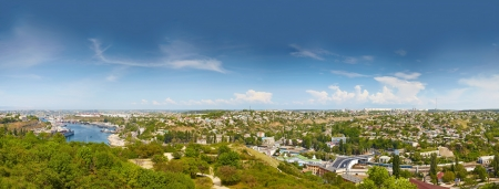 birdseye view: Panorama of Sevastopol, birds-eye view. Ukraine, Crimea Stock Photo