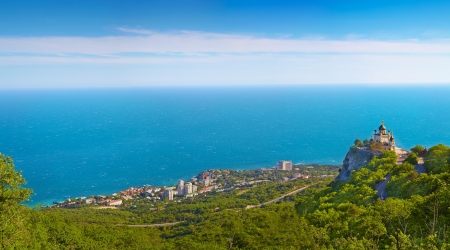 Panorama of Foros. Foros Church. View from the top.Crimea, Ukraine. Stock Photo