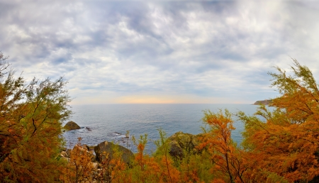 Autumn evening seascape..Alupka, Crimea Stock Photo