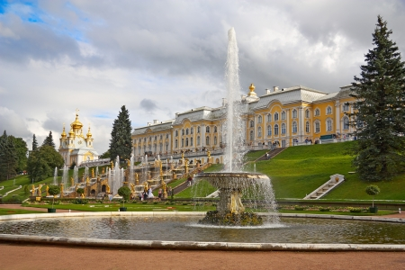 The palace and fountain, Peterhof, Upper Park, Russia Editorial