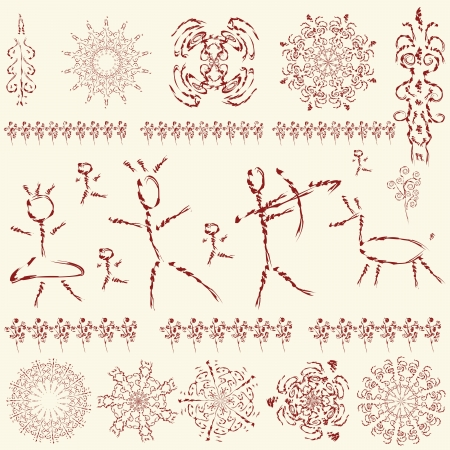 prehistoric pictures, a set of primitive art design elements Vector