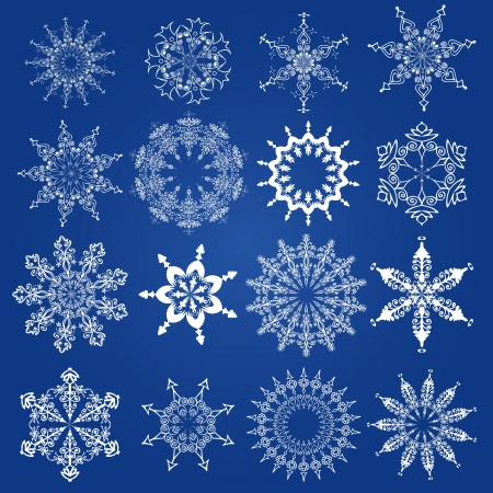 snowflakes, Christmas design elements on a blue background