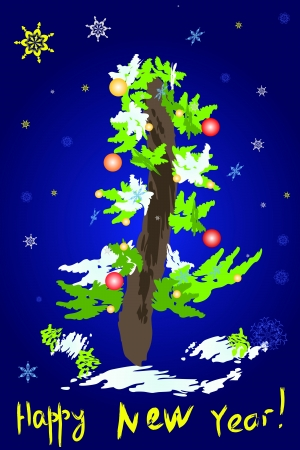 Christmas tree on a blue background  Greeting Card  Vector