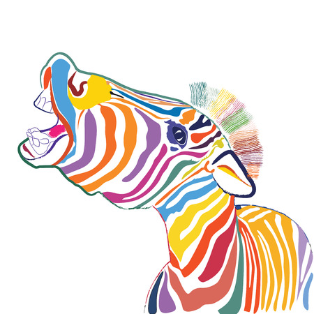 colours: a happy emotional multicolored zebra, vector
