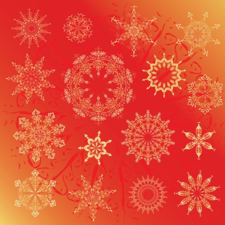 snowflakes, Christmas design elements on a red background