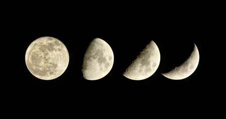 Lunar phase. Waxing Moon. Set of four pictures. Stock Photo