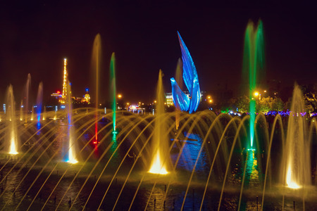 QINHUANGDAO, CHINA - SEPTEMBER 01: Singing fountains in the Olympic Park, 2011