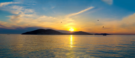 Sunset on the Princes Islands. Turkey, Istanbul, the Marmara Sea. Stock Photo