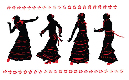 spanish dancer: Woman dancing flamenco. Set of black and red silhouettes on white background. Illustration