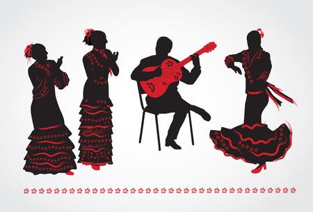 フラメンコのダンサーおよびギタリスト。白い背景にシルエットのセットです。