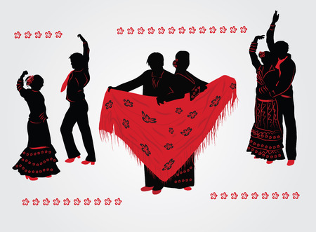 Couples dancing flamenco. Red and black silhouettes on white background. Vector