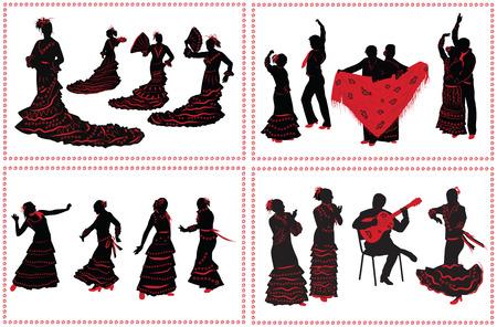 bailando flamenco: La gente baile flamenco. Conjunto de siluetas negras y rojas sobre fondo blanco. Foto de archivo
