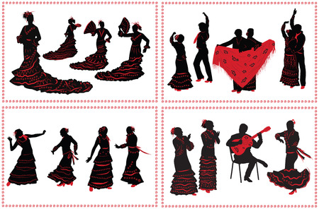 People dancing flamenco. Set of black and red silhouettes on white background.