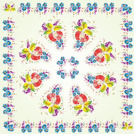 Floral pattern in folk style (Petrykivsky Painting, Ukraine), EPS10 Vector