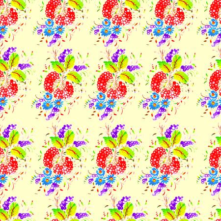 petrikovka: Seamless floral pattern in folk style (Petrykivsky Painting, Ukraine), EPS10