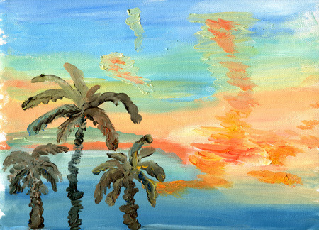 palm oil: Palm trees against a bright sunset sky. Sketch of oil. Stock Photo