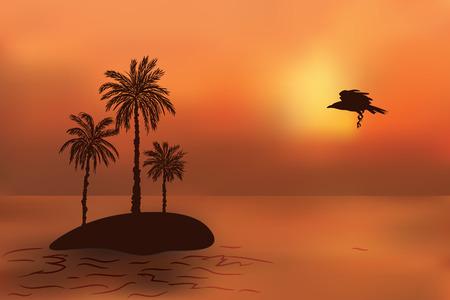 cuervo: Isla tropical con palmeras al atardecer. Cuervo vuela resto.