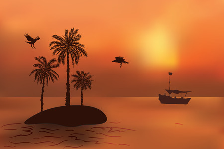 Tropical island with palm trees at sunset. The fishermens boat swims to the island. Illustration