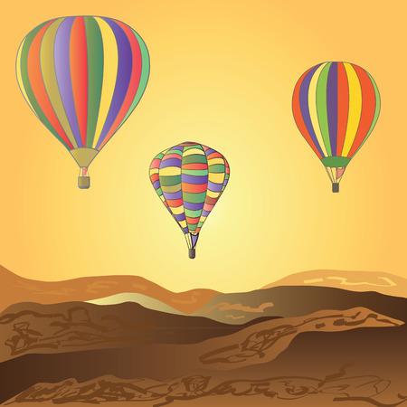 desert sunset: Balloons fly over the desert. Sunset.