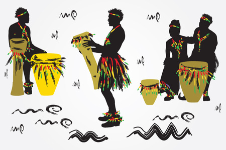African Musicians dance and play the drums.