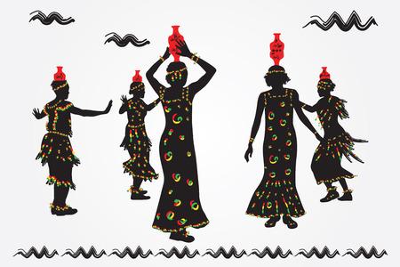 African women and men dance folk dance. Ilustrace