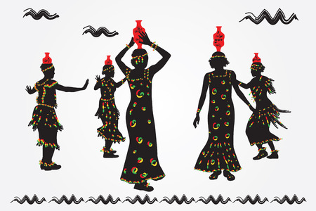 folk dance: African women and men dance folk dance. Illustration