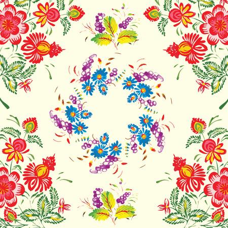 petrikovka: floral pattern in folk style (Petrykivsky Painting, Ukraine), EPS10 Illustration