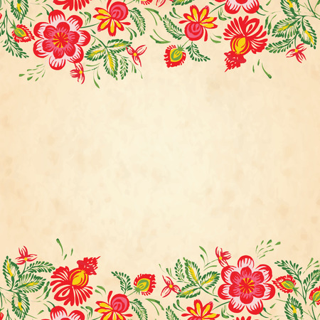 petrikovka: Texture of old paper with a border of flowers in the style of Petrykivsky Painting, Ukraine