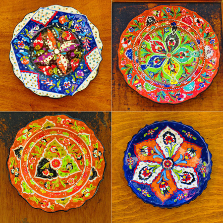 Beautiful painted dishes in traditional Turkish style. Samples from the shelves of Istanbul.