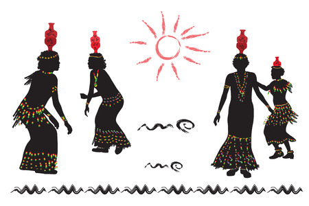 folk dance: African women dance folk dance.